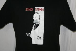 Simpsons Homer w Remote Black T Shirt Sopranos M