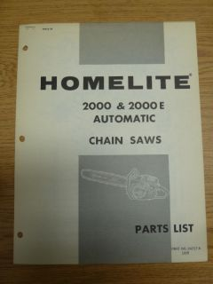 Homelite 2000 2000E Automatic Chain Saw Parts Manual