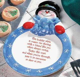 Fill this dolomite Snowman Plate with homemade treats and give to a