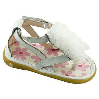Wee Squeak Baby Toddler Girls White Strap Ruffle Sandals 3