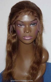 Beautiful Honey Brown Indian Remy Human Hair Lace Front Wig w Gorgeous