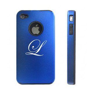 Apple iPhone 4 4S 4 Blue D2426 Aluminum & Silicone Case