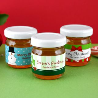 50 Christmas Holiday party favors PERSONALIZED CUSTOM HONEY JARS GIFTS