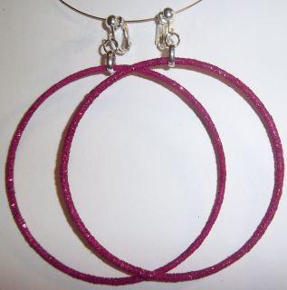 Clip on 3 25 Pink Glitter Thin Large Hoop Earrings J334 Juicebox