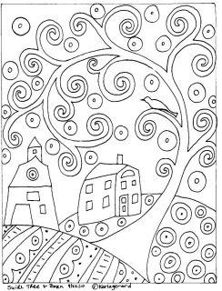 RUG HOOK PAPER PATTERN Swirl Tree House & Barn FOLK ART ABSTRACT by