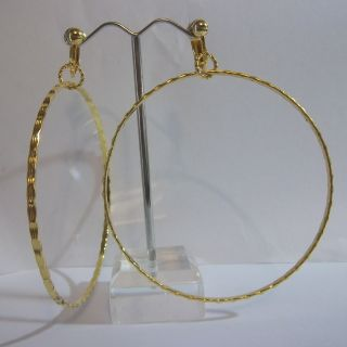 Clip on 3 Gold Tone Design Big Hoop Fashion Earrings J131 USA