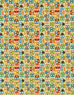 Treasures Fabric Mini Owls Tossed on Beige Multi Color Owl Hoot