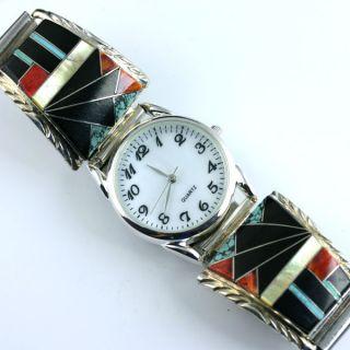 Native American Jewelry Multi Gemstone Silver Mens Watch 8 1 2