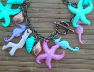 Bracelet Vintage Acrylic Coral Branch Sea Horse Star Fish Shell Copper