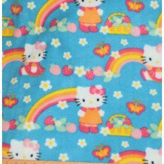 HELLO KITTY STRAWBERRY RAINBOW FLEECE FABRIC   2 YARDS