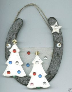 Christmas Trees Horseshoe Art Wall Decor Gifts