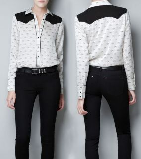 Women New Fashion Horse Print Long Sleeve Blouse Top Shirt
