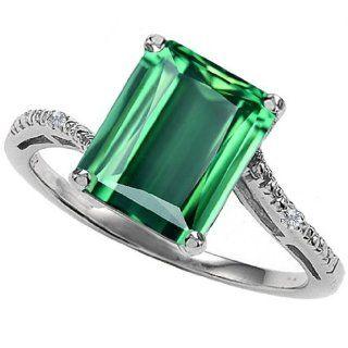 CandyGem 10k Gold Lab Created Emerald Cut Emerald and Diamond Ring