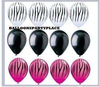 Zebra Stripes Print Black Wild Berry Hot Pink Party Latex Balloons Set