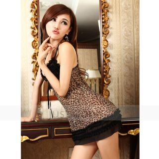 Hot Sexy Lingerie Women Ladies Sleepwear Leopard Night Gallus Dress G