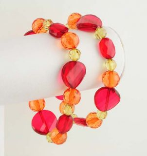 Acrylic and Faceted Red Orange Yellow Bead Stretch Bracelet Set