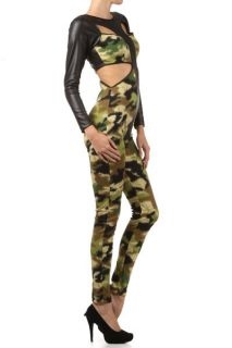 HOT  TRENDS  Military Camouflage Army Faux Leather Panel Bodysuit
