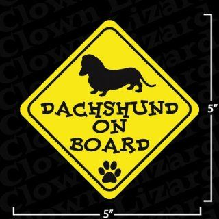 Dachshund On Board Funny Bumper or Window Sticker