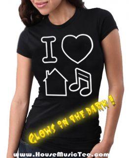 Girly Glow in The Dark I Love Heart House Music Tee