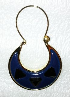 House of Harlow 1960 14KT Yellow Gold Plated Blue Resin Earrings with