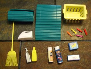 Barbie Doll House Access Cleaning Laundry Supplies Blinds Broom Basket