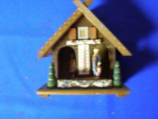 Vintage Wood Weather House Barometer Thermometer Man Lady German