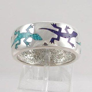 Southwestern Style Wide Lizard Band Ring in Sterling Silver with