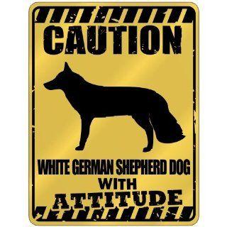 New  Caution  White German Shepherd Dog With Attitude