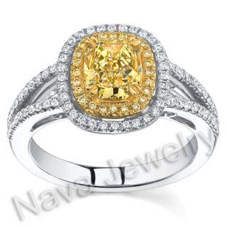 86 Ct Canary Yellow Cushion Cut Diamond Ring EGL