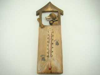 Handmade Wooden Dog House Bone Thermometer w Hanger