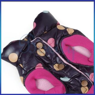 Pet Dog Dots Turtle Neck Sports Vest Jacket Coat Clothes Nylon Taffeta