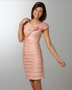 London Times New Light Pink Tiered Satin Dress w Flower Accent Petite