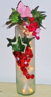 Red Grapes! Lighted Wine Bottle! Glass Beads Accent/Decor Light