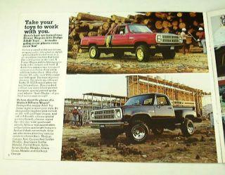 1979 79 Dodge Pickup Truck Brochure Warlock Macho W200