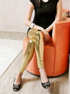 Womens Shiny Metallic Gold Silver Faux Leather Look Leggings Tights