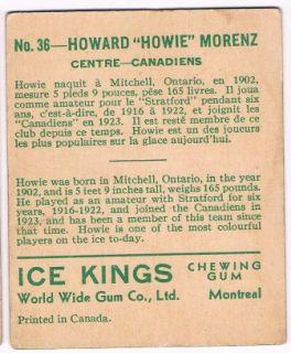 1933 34 V357 Ice Kings 36 Howie Morenz VG