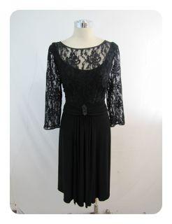 New J Howard Black Lace 3 4 Sleeve Scoop Neck Empire Waist Dress 16W $
