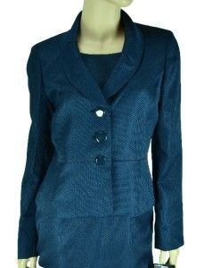 Kasper New Special Occasion Navy Blue Jacket Dress Suit Size 10P