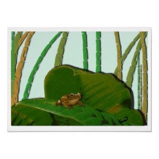 tiny Puerto Rican tree frog (Coquí) in a green leaf, surrounded by