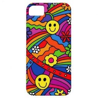 Modelo sonriente del hippy del arco iris y de la f iPhone 5 carcasa de