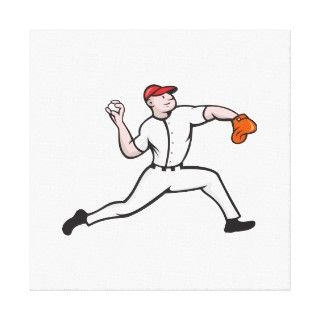 Cartoon illustration of a baseball player pitcher pitching ball facing