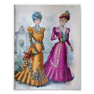 1890s de la moda de la vintage mujer posters de