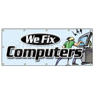 48x120 WE FIX COMPUTERS BANNER SIGN computer repair