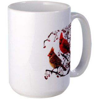 Large Mug Coffee Drink Cup Christmas Cardinals Snowy Red