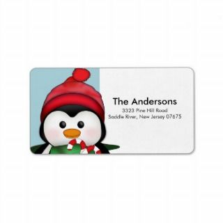 Red Winter Tree Snow Scene Return Address Label