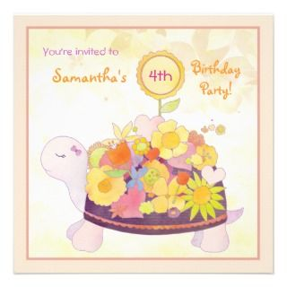 Baby Shower Thank You Flat Cards Flower Turtles Personalized