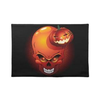 Halloween Skull and Pumpkin Placemats