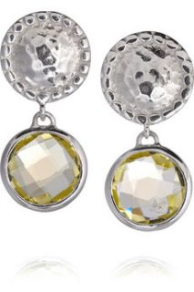 Monica Vinader Mini Luna sterling silver green gold quartz earrings