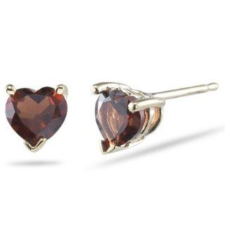 6 mm Heart Shaped Garnet Stud Earrings in 18K Yellow Gold