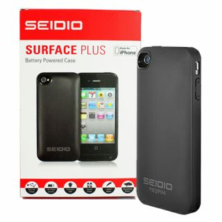 Seidio PBQIPH4 BK Surface Plus Battery Case Skin for Apple iPhone 4G